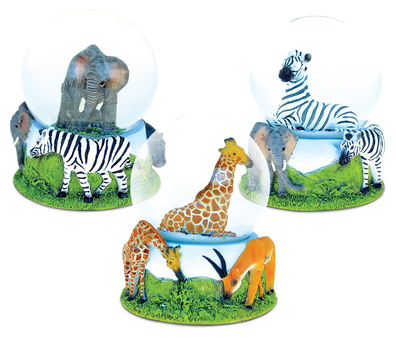 Puzzled Elephant, Giraffe, Zebra Snowglobes (65MM) Handcrafted Vibrant Wild Life Decor - Animal Theme - Assorted Design, Set of 3 - Item #K9475-9476-9485