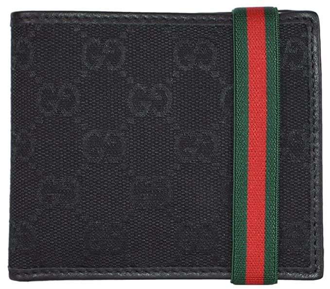 80ef92e3073a5f Image Unavailable. Image not available for. Colour: Gucci Men's Black GG  Guccissima Red Green Web Band Bifold Wallet