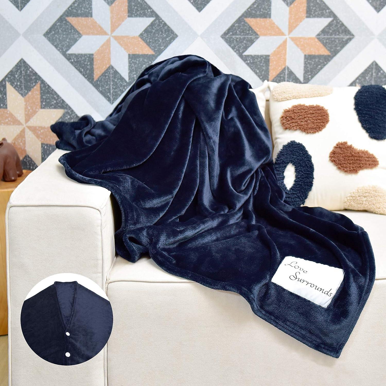 """JS HOME Thicken Fleece Blanket Throw, Lightweight Super Soft Cozy Luxury Bed Blanket Microfiber, Bed Blanket, Navy Blue, 50""""x 60"""""""