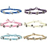 Summer Fashion Foot Jewelry for Women and Girls Braided Anklets for Women with Daisy Metal Beads FROG SAC 6 Ankle Bracelets for Women Wax String Beach Anklets Bracelets