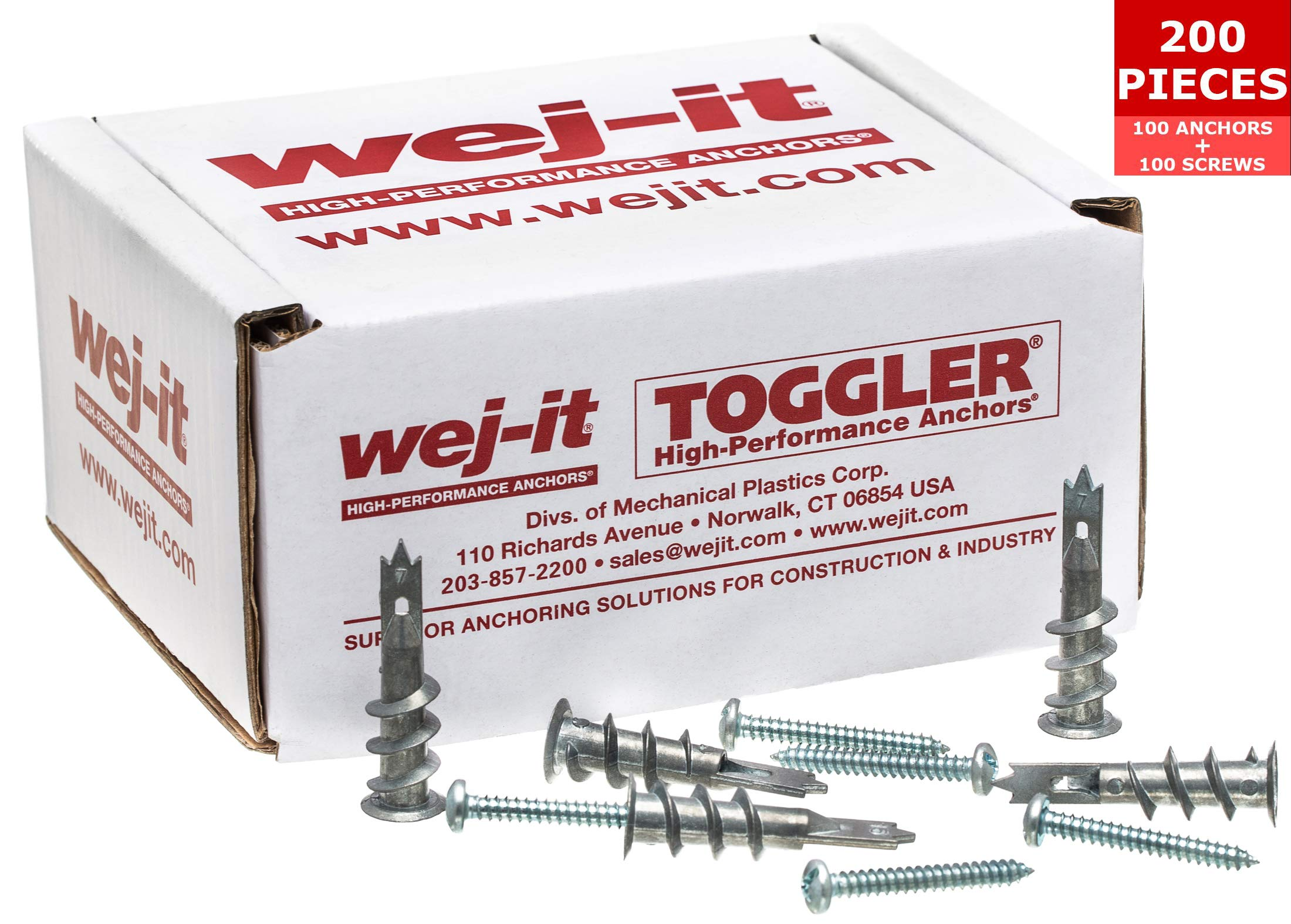 Wej-It Self-Drilling Drywall Anchors - Industrial Quality Screw & Wallplug Kit - Quick & Hassle Free Wall Fastening & Mounting - 200 Pcs (100 Anchors and 100 Screws) (Zinc Alloy - Metal)