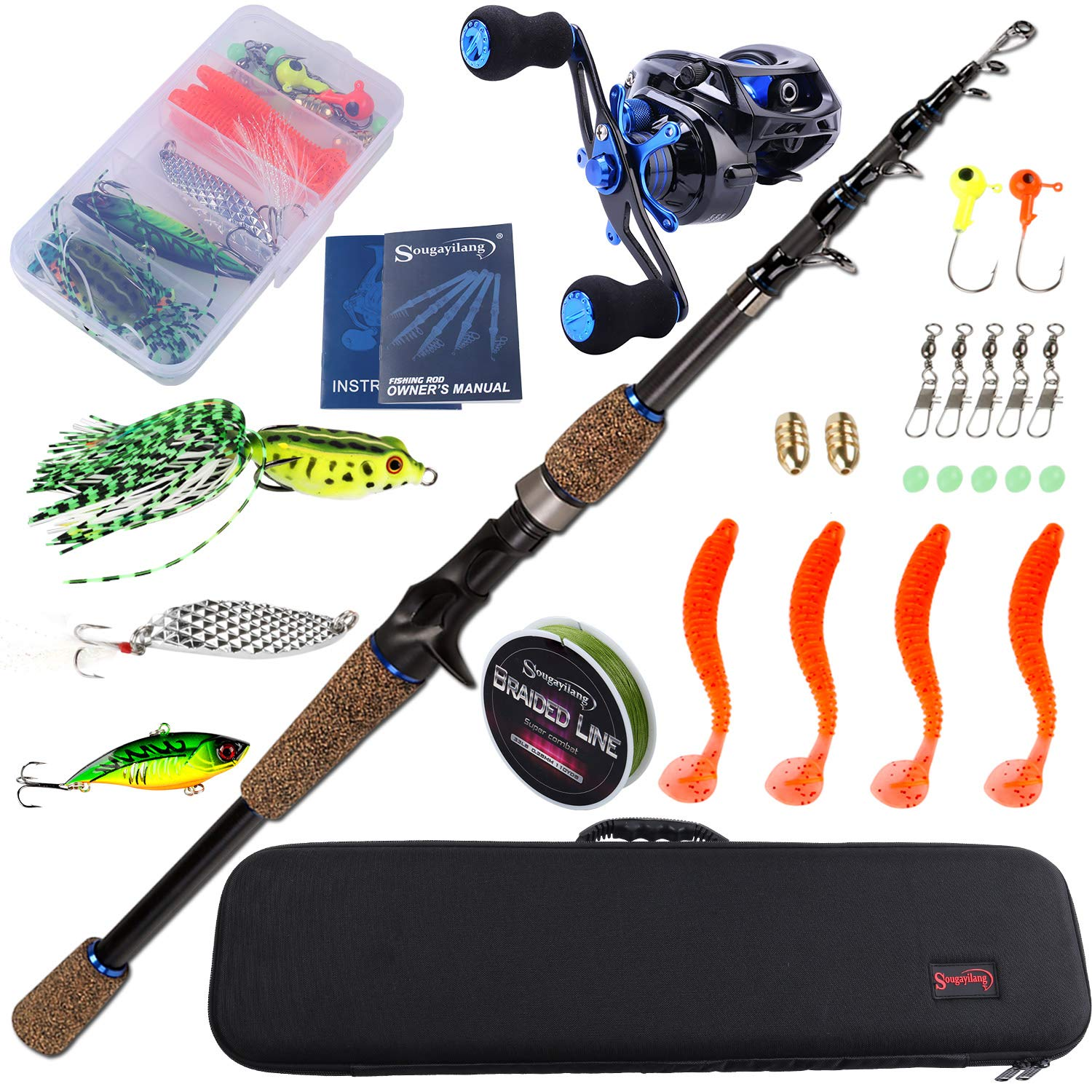 Sougayilang Fishing Combos Full Kits with Carrier Bag,Baitcasting Fishing Reel-Right 6.9ft Fishing Poles,Fishing Gear Set with Line Lures Hooks for Sea Saltwater Freshwater Boat Fishing. by Sougayilang