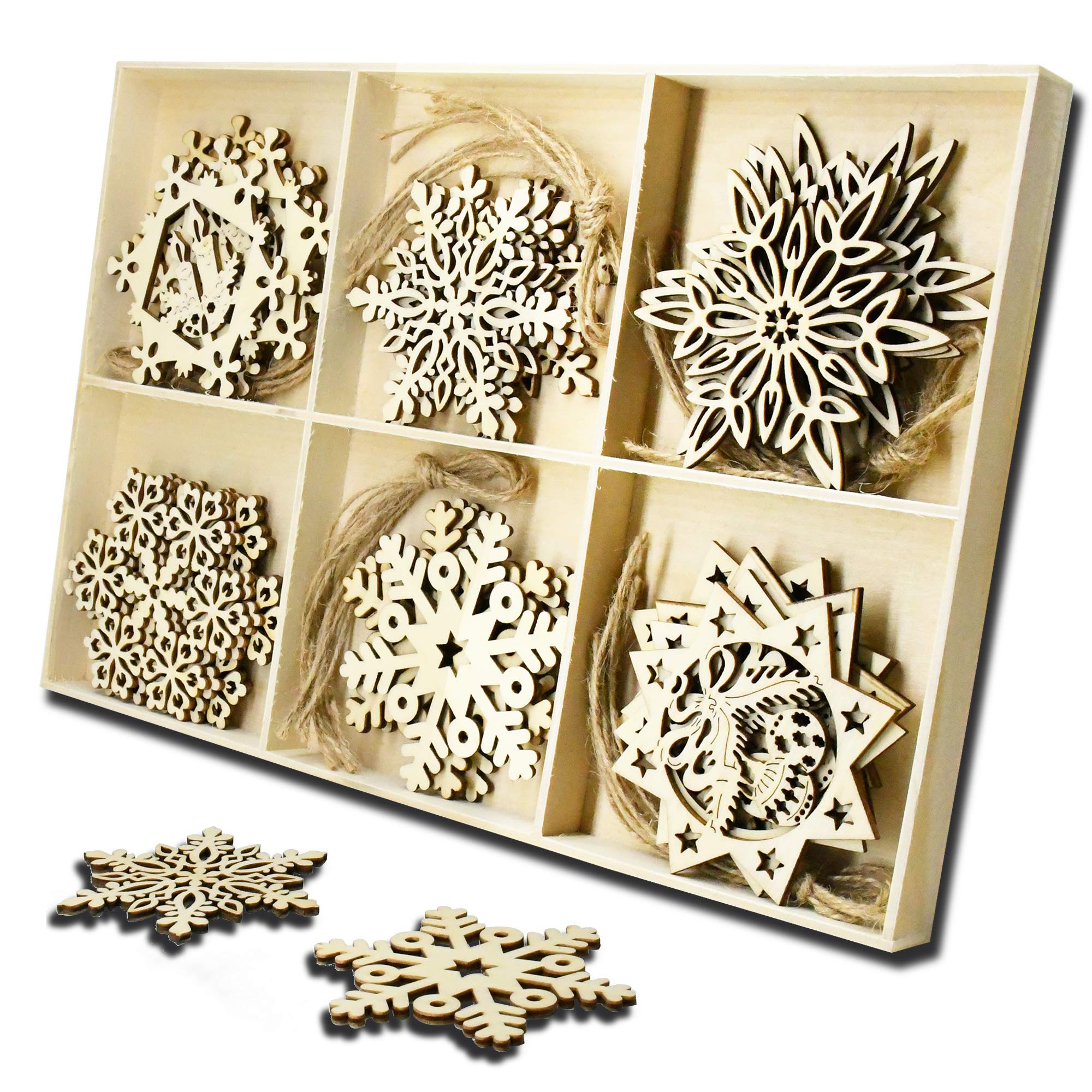 YuQi 30pcs Wooden Snowflake Shapes-Unfinished Wood Ornaments Crafts for Home Decor Blanks,Christmas Tree Hanging Ornament Sets Embellishments with Natural Twine Kits (6 Snowflake Styles)