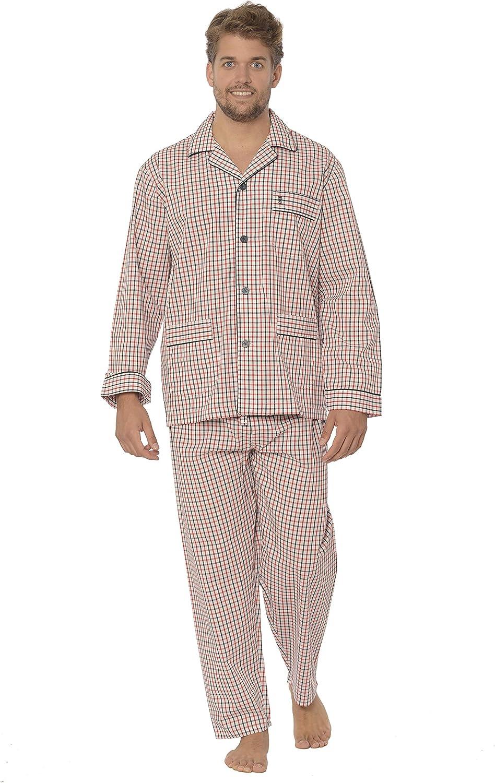 100/% Cotone Abbigliamento da Notte Classico per Signori Pantaloni Pigiama Lunghi a Righe oa Scacchi da Uomo Popeline El B/úho Nocturno