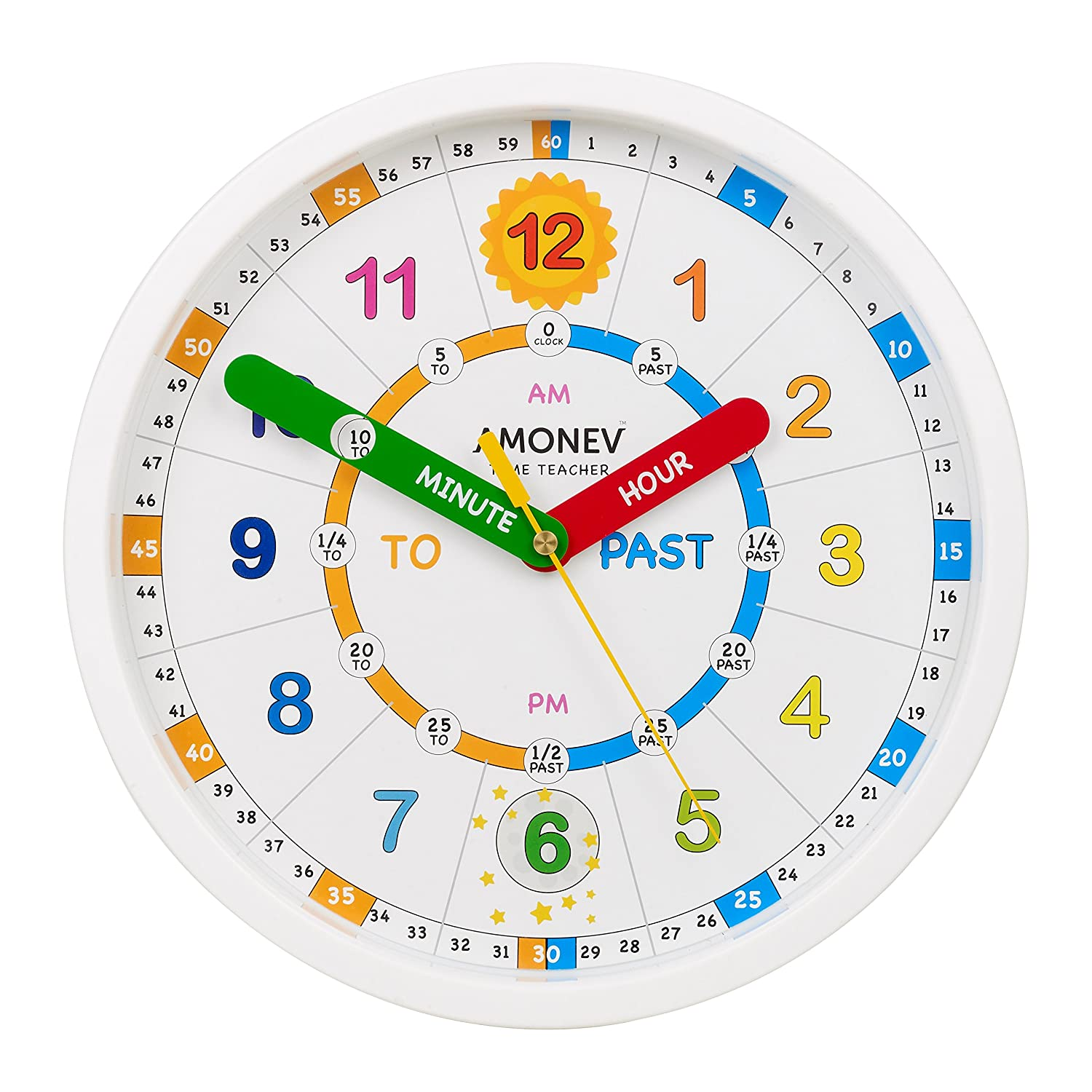 Amonev Time Teacher scope wall Clock, teach children to Instantly read and say the time with this Silent movement clock.