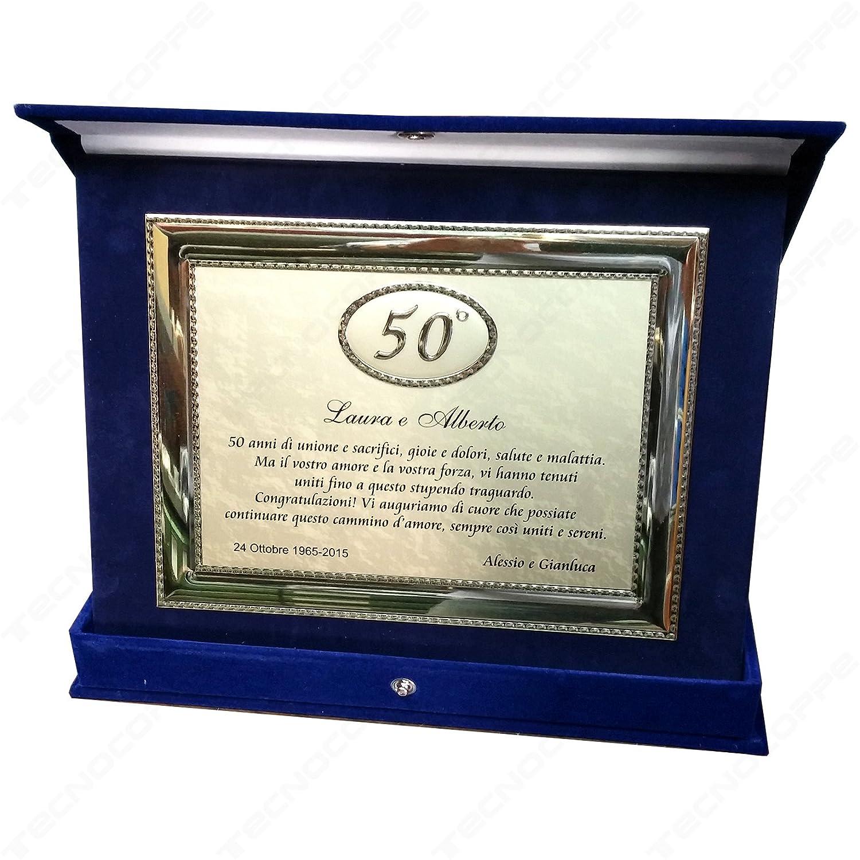 Auguri Religiosi Anniversario Matrimonio : Tecnocoppe targa in alluminio 50° anniversario matrimonio nozze d