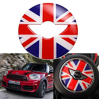 x xotic tech Red Blue Union Jack UK Flag 3D Steering Wheel Decal Sticker Cover for Mini Cooper F54 F55 F56 F60 2014 2015 2016 2020: Automotive