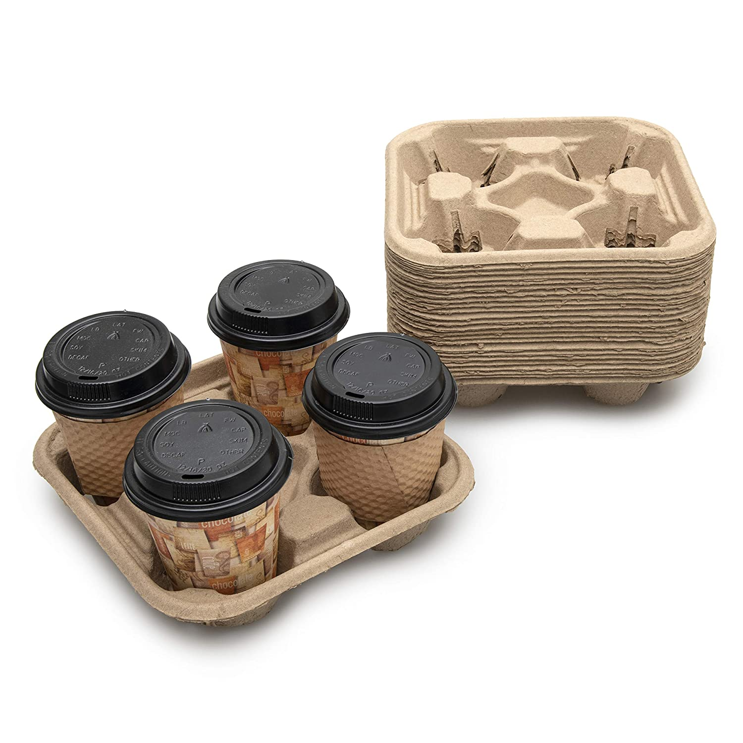 FYNIST 4 Cup Disposable Coffee Tray (Pack of 25) - Biodegradable and Stackable Drink Carrier - Cup Holder for Hot and Cold Drinks - Ideal for Food Delivery, Takeout, and to Go Services