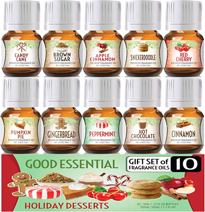 Amazon.com: Holiday Desserts Good Essential Fragrance Oil Set (Pack of 10) 5ml Set - Peppermint, Apple Cinnamon, Hot Chocolate, Cherry, Pumpkin Pie, Candy Cane, Gingerbread, Snickerdoodle, Cinnamon, Brown Sugar: Health & Personal Care