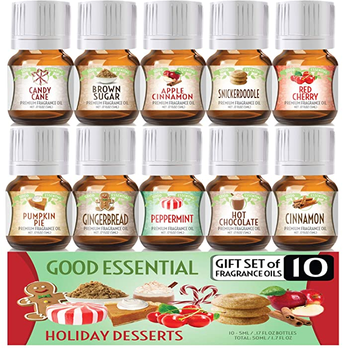 Holiday Desserts Good Essential Fragrance Oil Set (PACK OF 10) 5ml Set - Peppermint, Apple Cinnamon, Hot Chocolate, Cherry, Pumpkin Pie, Candy Cane, Gingerbread, Snickerdoodle, Cinnamon, Brown Sugar