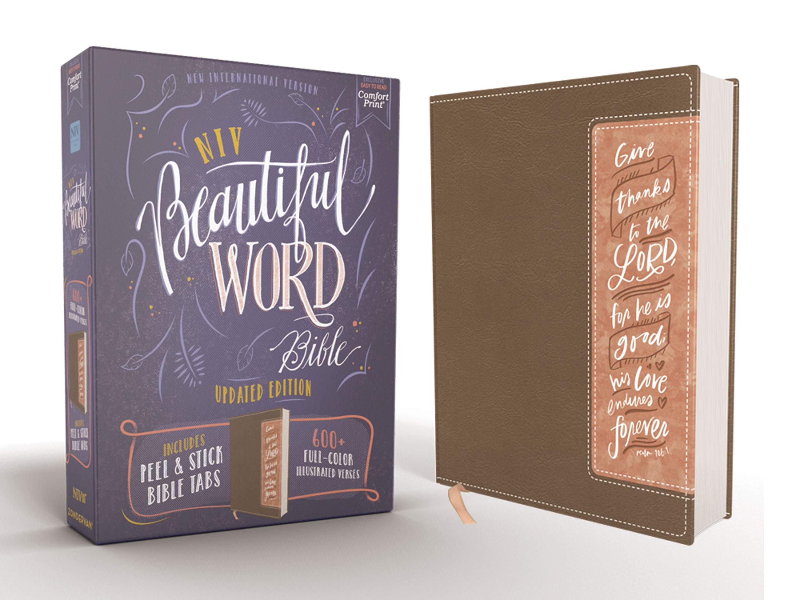 NIV, Beautiful Word Bible, Updated Edition, Peel/Stick Bible Tabs, Leathersoft, Brown/Pink, Red Letter, Comfort Print: 600+ Full-Color Illustrated Verses by HarperCollins Christian Pub.