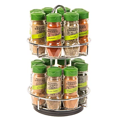 Mccormick Gourmet Two Tier Chrome 16 Piece Organic Spice Rack Organizer With Spices Included 15 41 Oz Amazon Com Grocery Gourmet Food