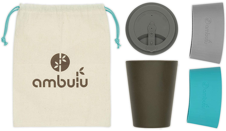 Sans Plastique ou BPA 2 manches Passe au lave-vaisselle Eco Tasses Sac de transport Ambulu Tasse /à caf/é r/éutilisable pour Voyager et pour plats 350 ml Portable Mug en bambou avec couvercle