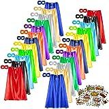 Superhero Capes and Masks Set, 24 Sets Bulk Pack Dress Up Costume for Kids Party, DIY Super Hero Capes with Superhero Sticker