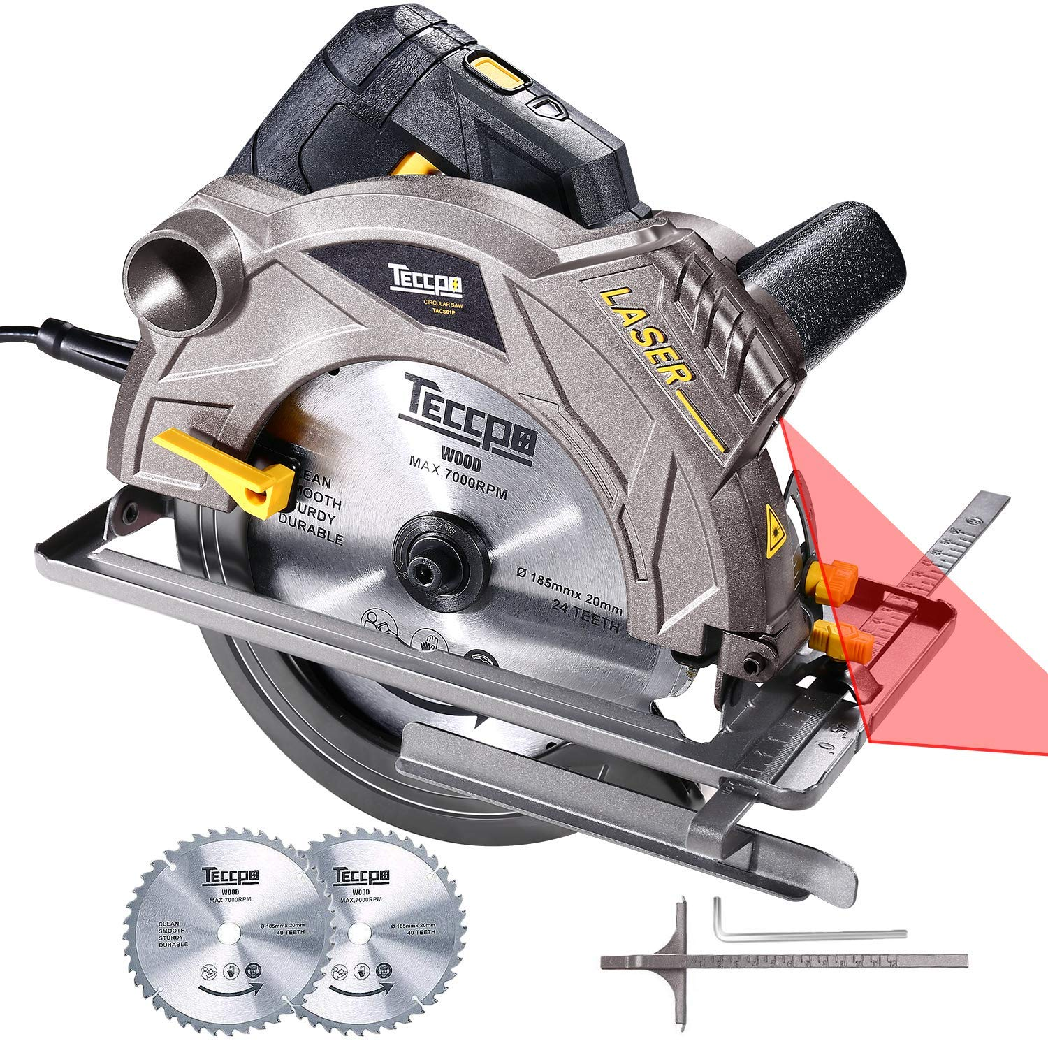 Circular Saw, TECCPO 1500W 5800 RPM Electric Circular Saw with 2 Ø185mm Blades and Laser Guide, Adjustable Cutting Depth and Angle (63mm at 90°, 45mm at 45°) - TACS01P