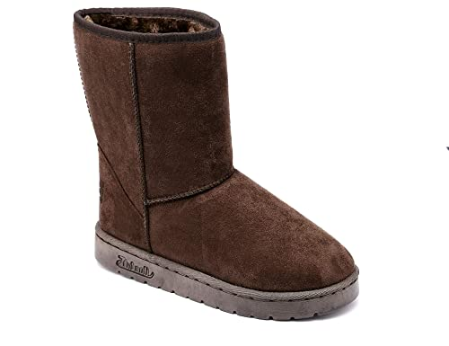 76fe9051588 MaxMuxun Women s Winter Warm Classic Mid-Calf Faux Suede Warm Lining Brown  Snow Boots Size