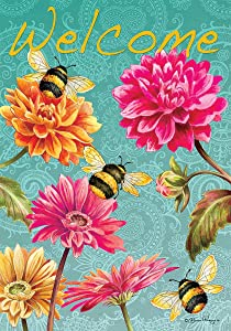 Bumblebees in the Garden - Garden Size, 12 Inch X 18 Inch, Decorative Double Sided Licensed, Trademarked and Copyrighted Flag Printed IN USA by Custom Decor Inc.
