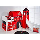Mid sleeper IDA 4106 Disney Cars - divisible system bed LILOKIDS - white - incl. curtain and slats, tower and slide