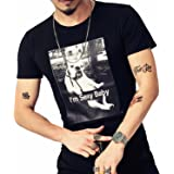 LOGEEYAR Mens Cotton Fitted Short-Sleeve Graphic Printed Pullover Casual T-Shirt