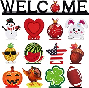 Welcome Table Decoration Set with 12 Pieces Wooden Decorative Sign Welcome Letter Sign Blessed Table Centerpiece Wooden Plaque for Home Room Decor Dinner Table Topper