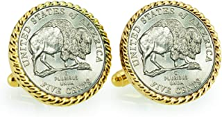 product image for American Coin Treasures 2005 Bison Nickel Rope Bezel Cuff Links