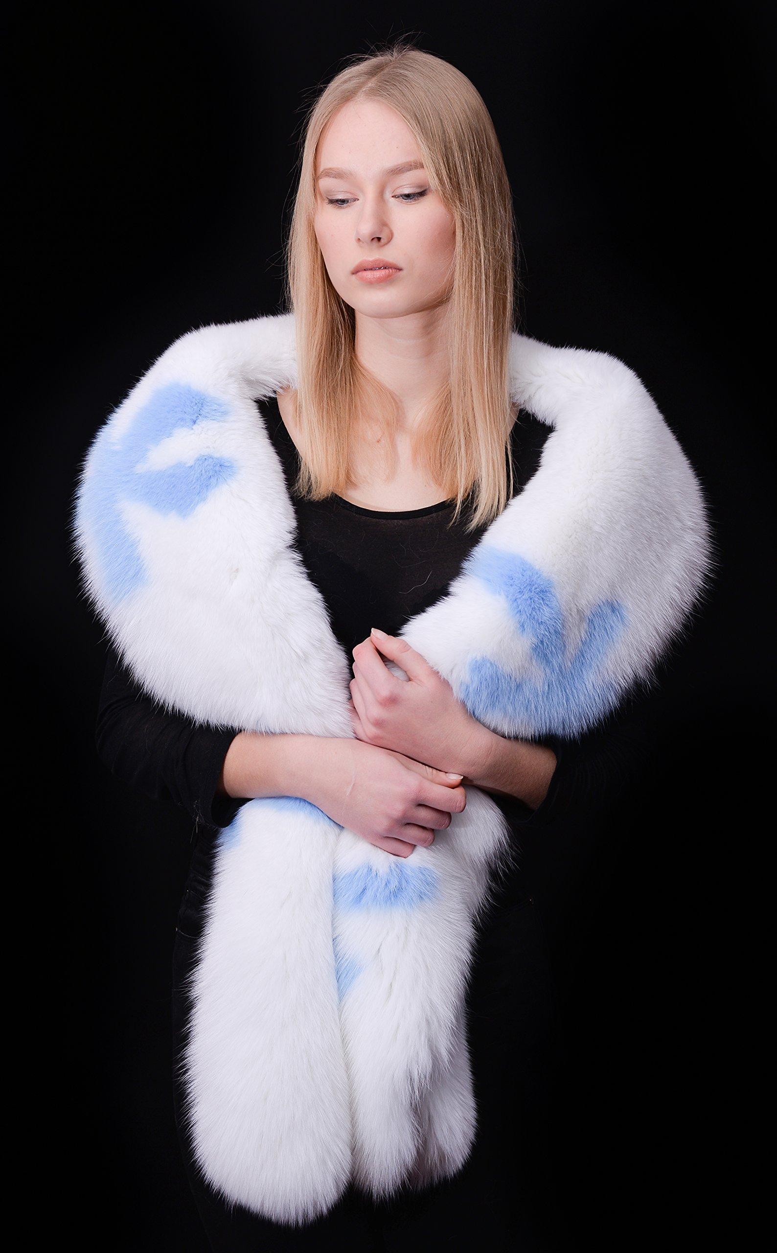 HUGE 79'' Arctic Shadow Fox White/Ice Blue Handmade Boa Stole