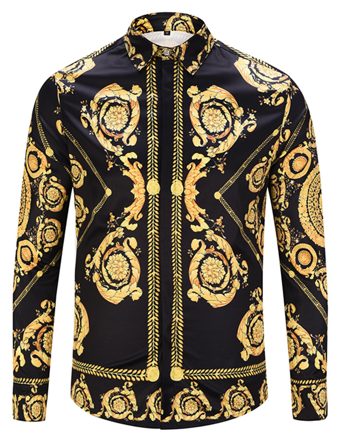 Pizoff Mens Hipster Casual Button Down Dress Shirt Long Sleeve Luxury Gold Print Designer for Party Night Club Y1792-57-L