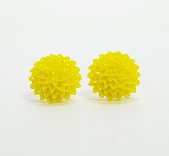 Amazon yellow flower stud earrings bright yellow chrysanthemum yellow flower stud earrings bright yellow chrysanthemum flower stud earrings yellow fower stud earrings mightylinksfo