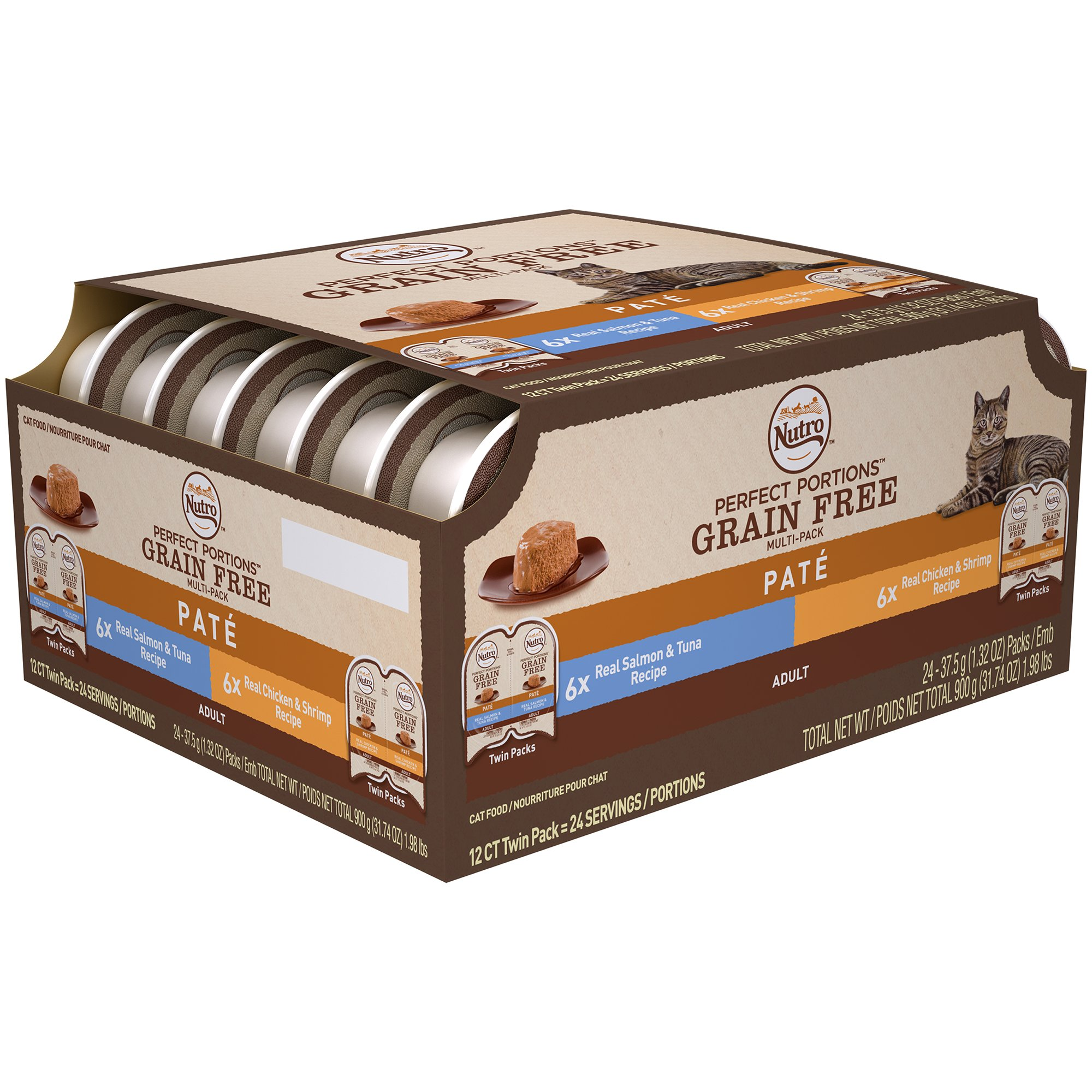 Nutro PERFECT PORTIONS Pate Multi-Pack Real Salmon & Tuna and Real Chicken & Shrimp Wet Cat Food Trays 2.65 Ounces (24 Twin Packs)