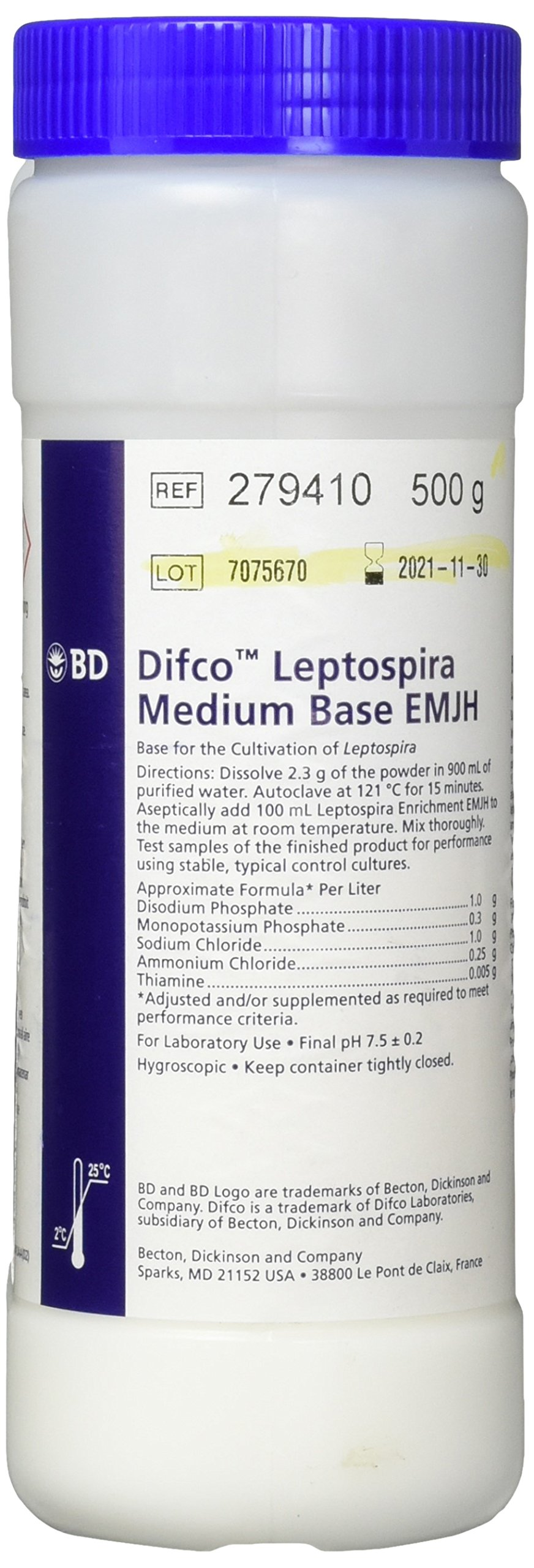 BD Diagnostic 279410 Difco Leptospira Medium Base EMJH, 500 g