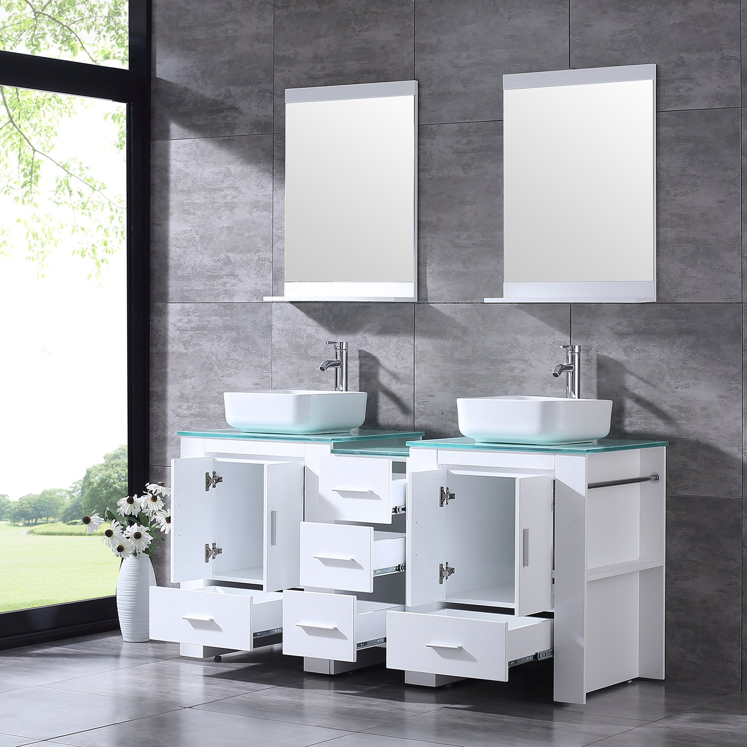 """BATHJOY Luxury 60"""" White Bathroom Double Wood Vanity Cabinet with Square Ceramic Vessel Sink and Mirrors Faucet Drain Combo by BATHJOY (Image #3)"""