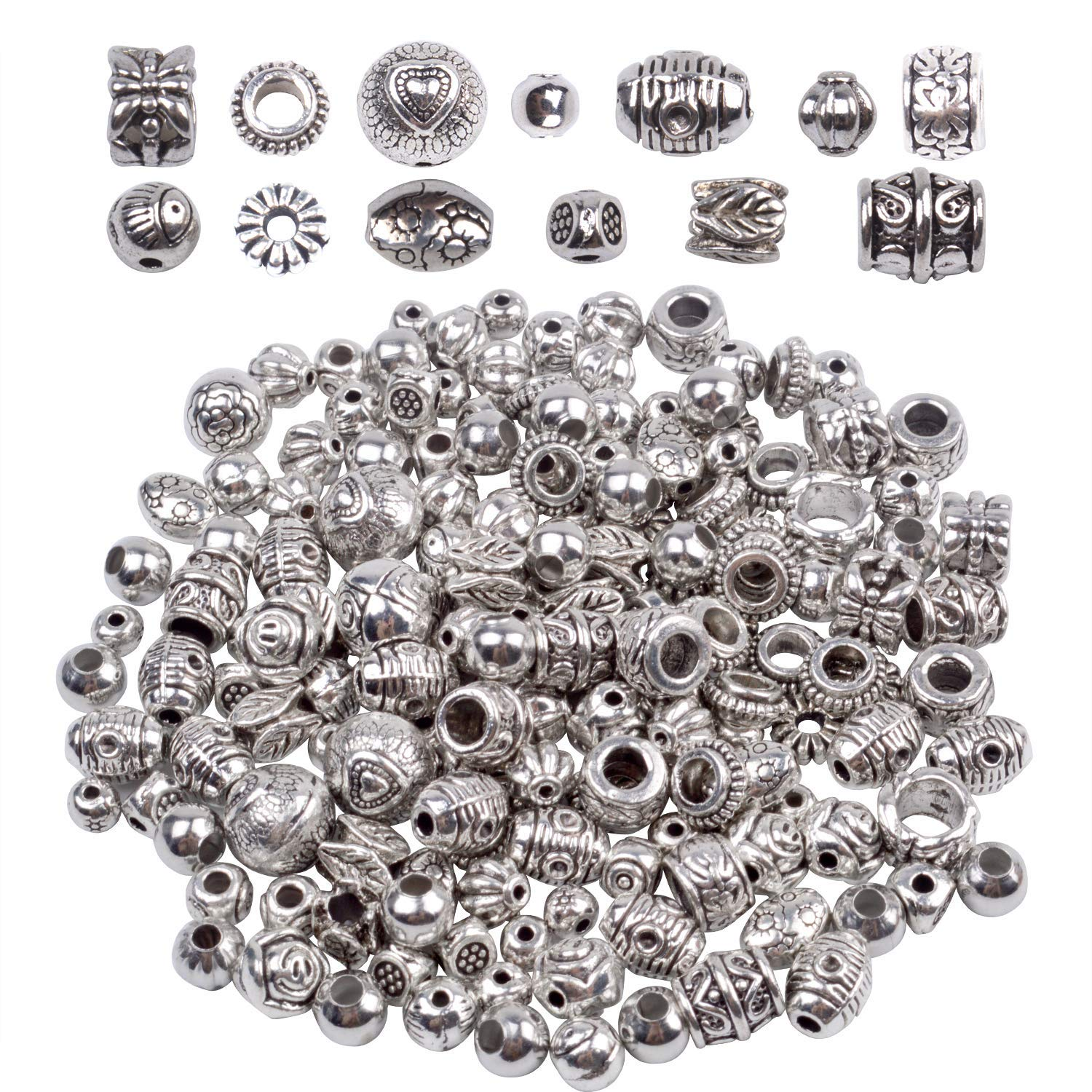 Antique Silver Round Beads Jewelry Bead Charm Spacers for Jewelry Making Bracelets Necklace About 140-180pcs BronaGrand 100g