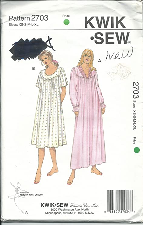 f53b95bf36 Amazon.com  Kwik Sew 2703 Sewing Pattern Misses Nightgowns Size XS-XL   Everything Else