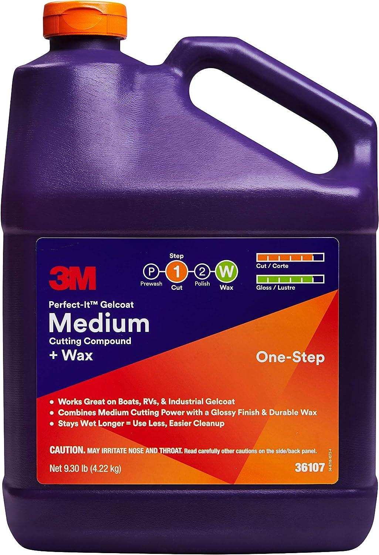 3M Perfect-It Gelcoat Medium Cutting Compound + Wax, 36107, 1 gal (9.3 lb)