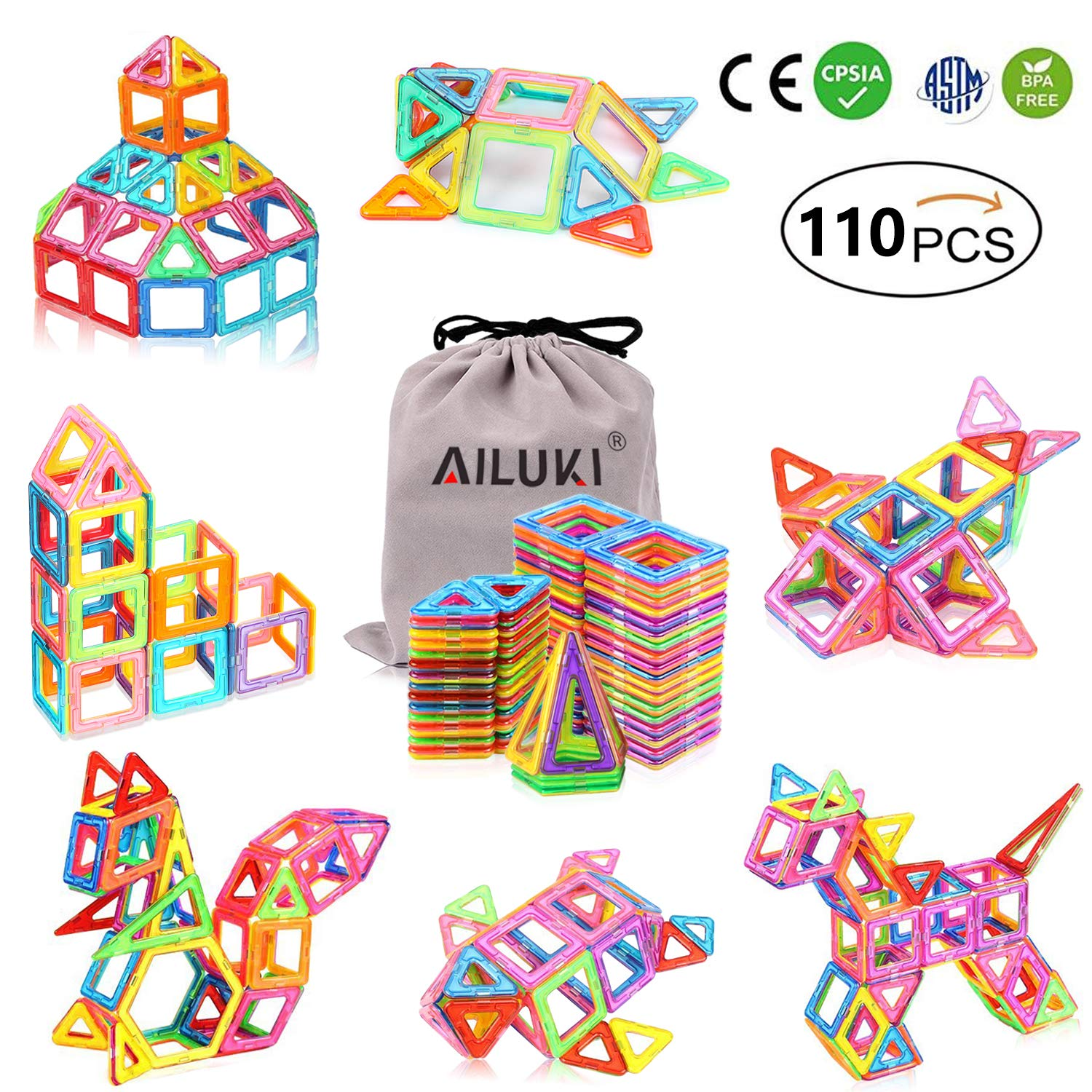 AILUKI 110 PCS Magnetic Blocks Building Set for Kids, Magnetic Tiles Preschool Educational Construction Kit Toys for Girls & Boys by AILUKI