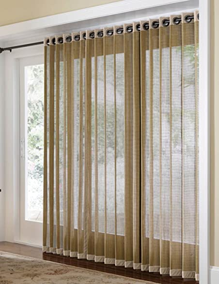 Amazoncom Bamboo Grommet Top Panels For Sliding Glass Doors And - Bamboo sliding glass door curtains
