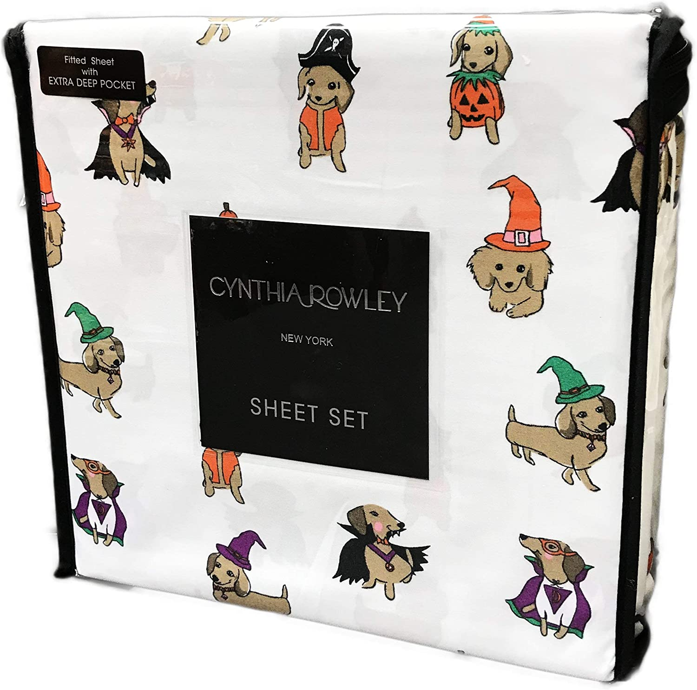 Cynthia Rowley Cute Dachshund Wiener Dogs in Festive Halloween Costumes Bedroom Novelty Sheet Set (Twin)