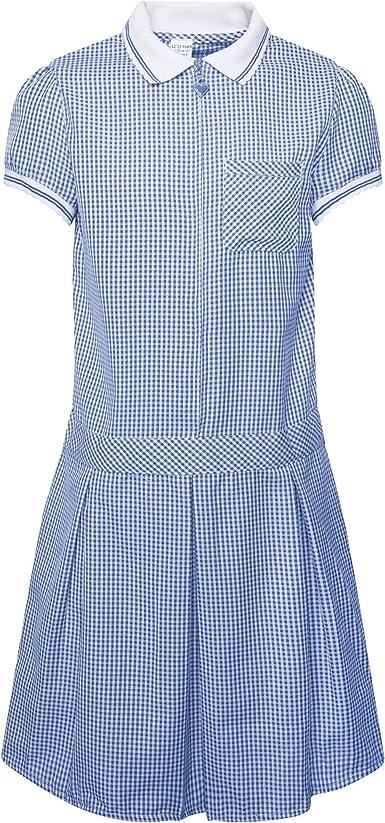 Girls School Gingham Summer Dress Cotton Blend School Pleated Dress Check Uniform