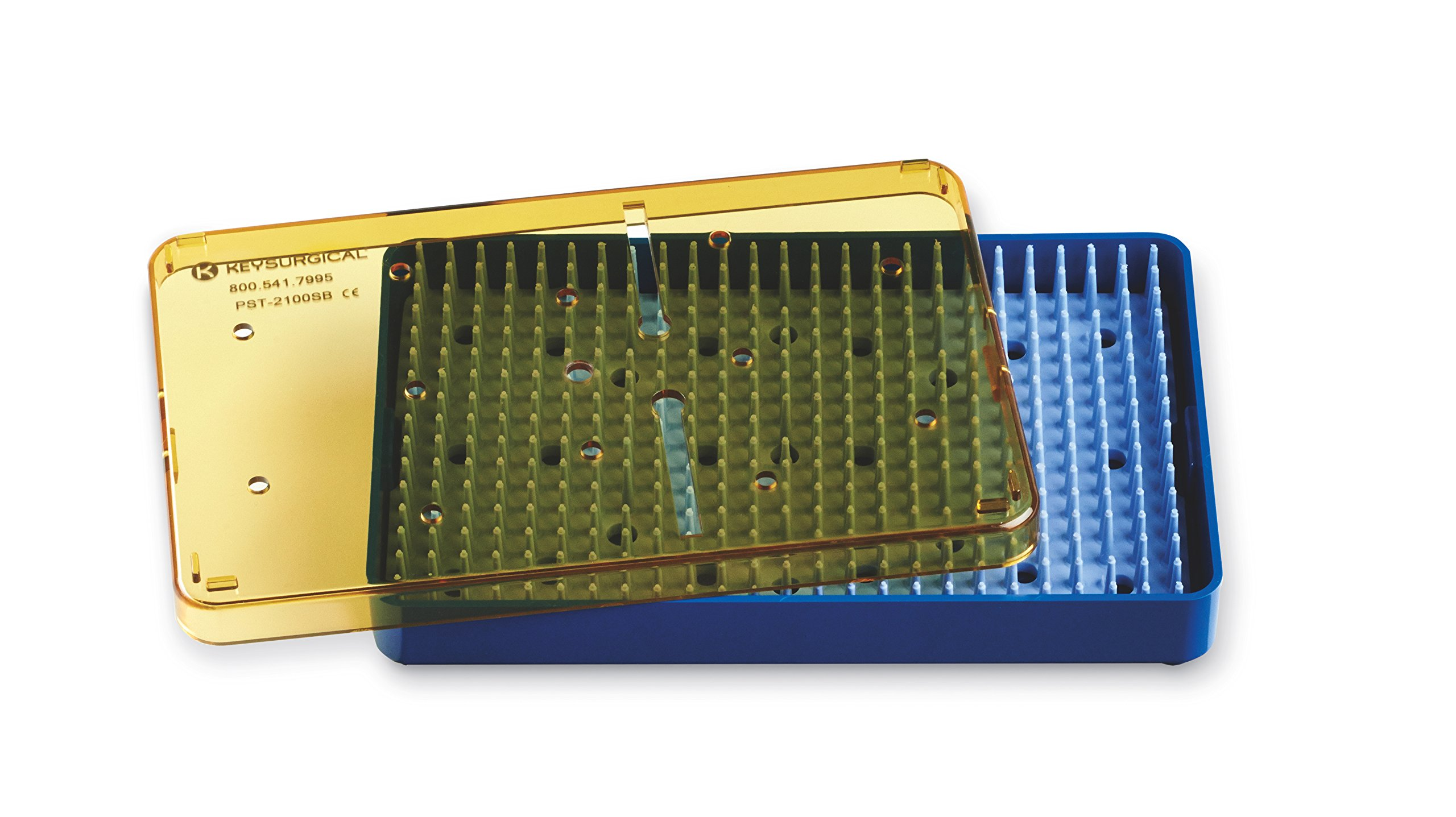 Key Surgical PST-2100SB Plastic Sterilization Tray, 6.5'' x 4'' x .75'' Base, Lid, and Silicone Finger Mat Insert