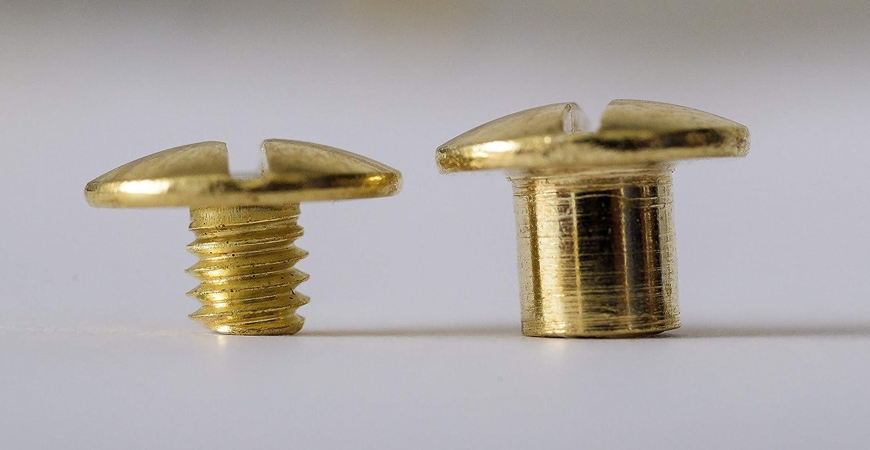 Tornillos para libros Remaches para cintur/ón chapado en oro 5 mm 70 unidades Chicago
