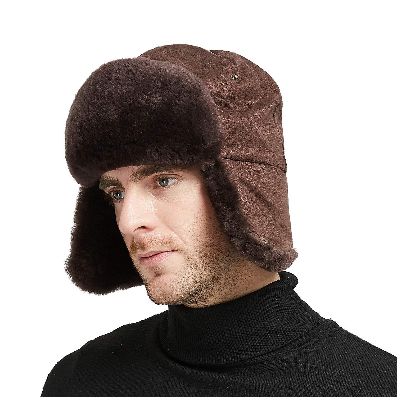 IKEPOD Shearling Sheepskin Pilot Aviator Russian Ushanka Winter Trapper Hat