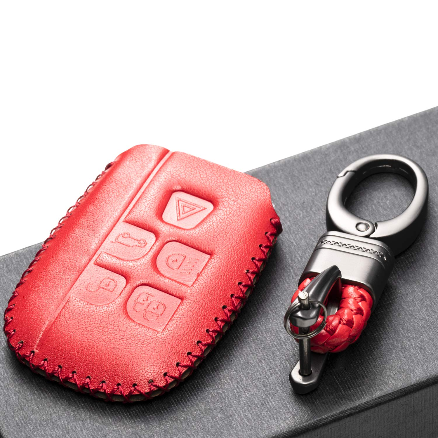 Vitodeco Genuine Leather Keyless Smart Key Fob Case Cover with Key Chain for Land Rover Defender Discovery Sport LR2 LR4 Range Rover Sport Black