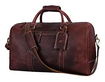 Amazon.com: Aaron Leather - Bolsa de viaje de piel, bolsa de ...
