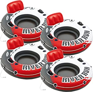"""Intex Red River Run 1 Fire Edition Sport Lounge 4 pack, Inflatable Water Float, 53"""" Diameter"""