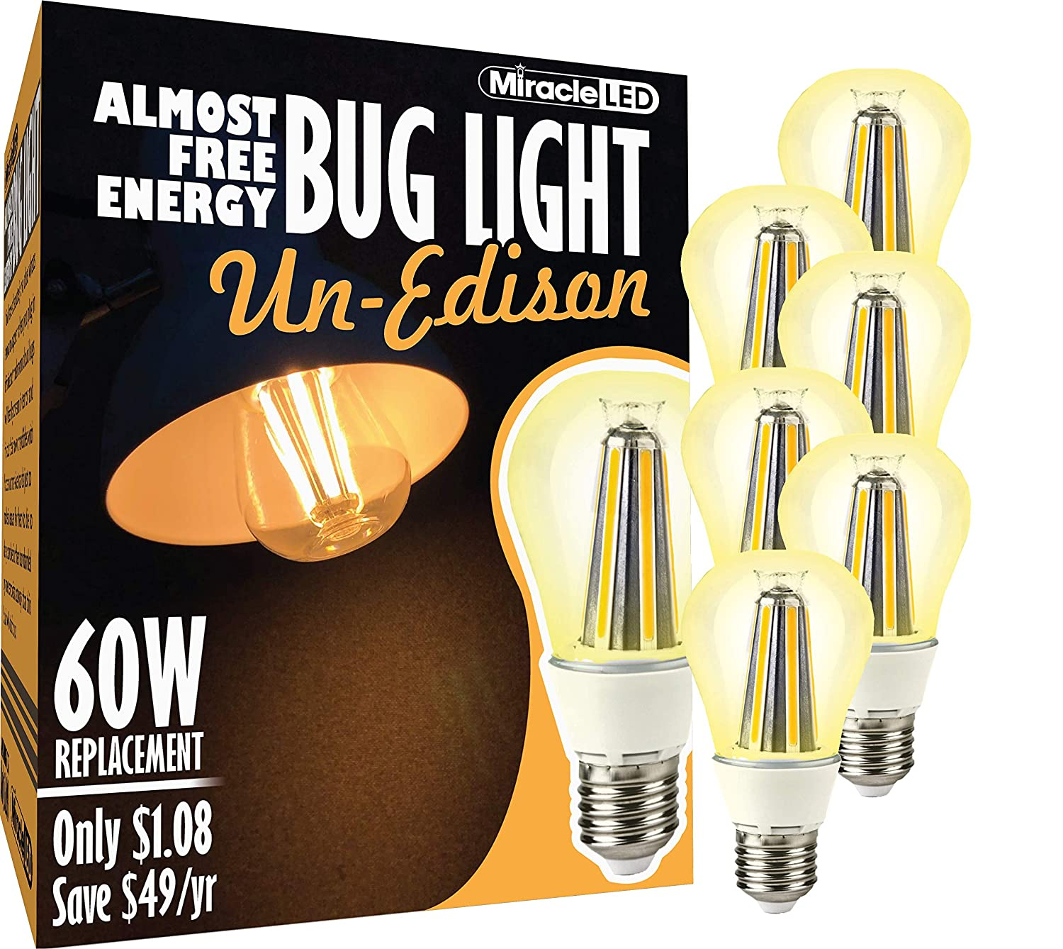 4-Pack Amber Glow Hot 100W Incandescent and Painted Bulbs Replacing Old MiracleLED 602007 Almost Free Energy Bug Light MAX 12W