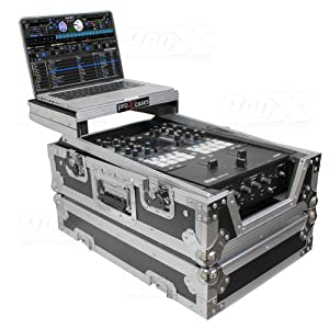 "Pro-X Prox XS-RANE72LT 11"" ATA-300 Style Gig Ready Flight/Road Case with Laptop Shelf for Rane Seventy-Two DJ Mixer, Silver on Black"
