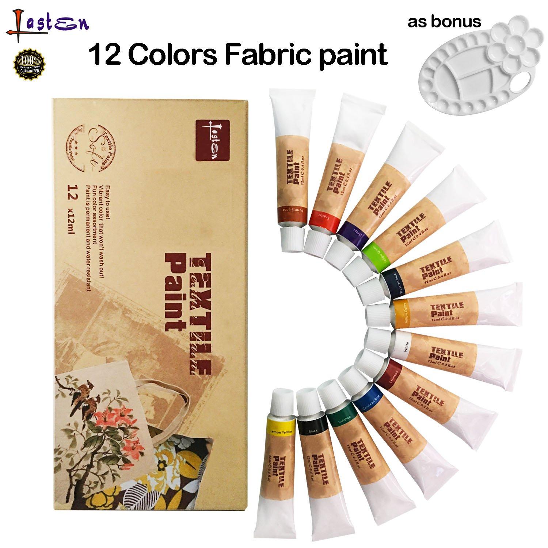 Lasten Fabric Paint Set With Palette, Permanent Textile Paint Art Dye for Fabric Canvas Wood Ceramic Glass T-shirts Clothes (12 colors X 0.4 fl.oz)