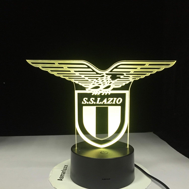 Ss Lazio Italian Club 3D Lámpara de mesa Juguete para niños Regalo Led Sensor de luz nocturna Cambio de color Office Club Home Bar Decoración de la habitación Mesa Lámpara de escritorio