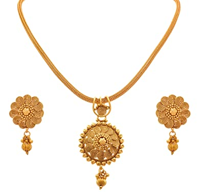 Buy jfl jewellery for less traditional ethnic one gram gold jfl jewellery for less traditional ethnic one gram gold plated sprial pendant set with aloadofball Images
