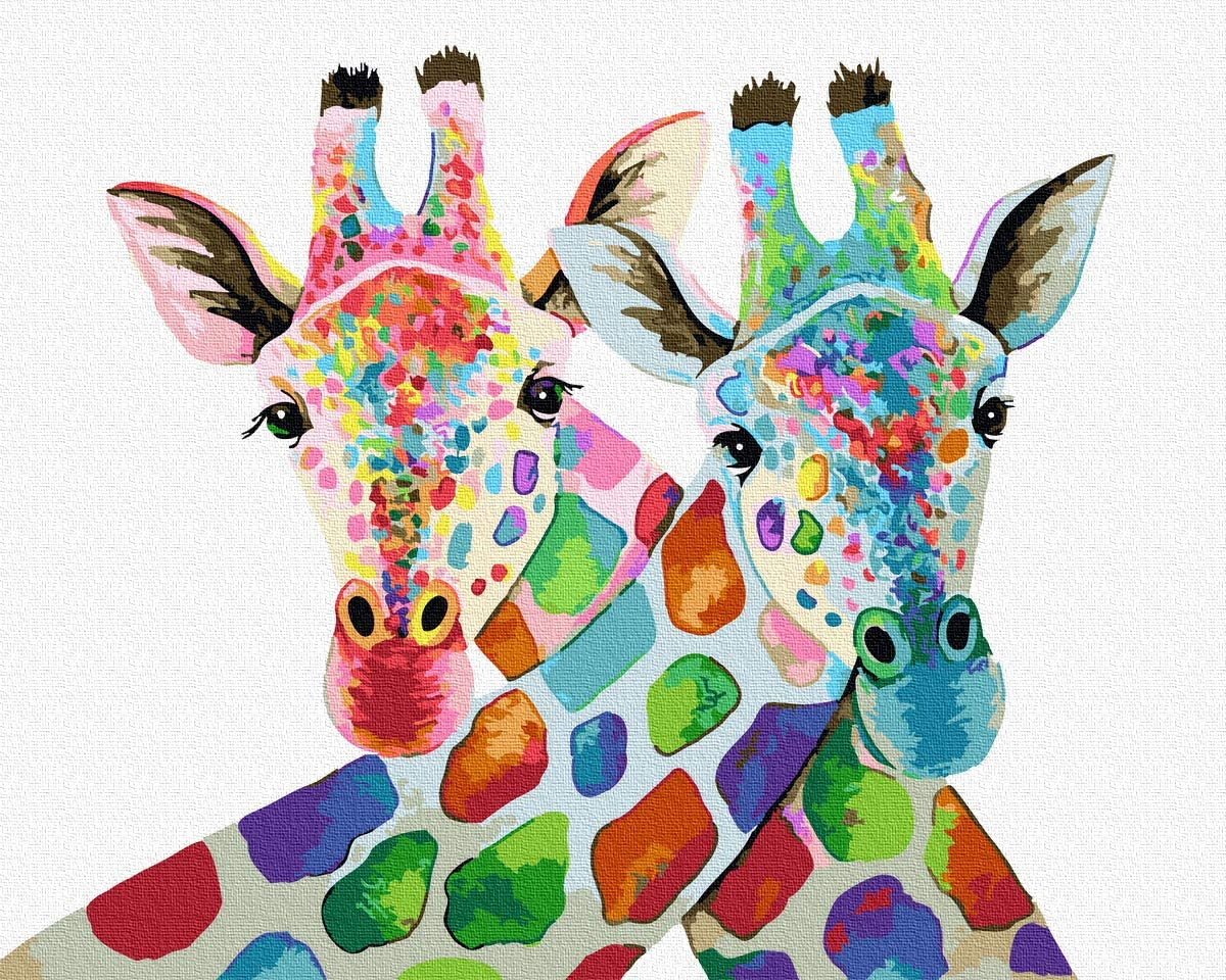 BJLBABY DIY Paint By Numbers Kits for Adults Kids Regali Giraffa Animale Dipingere con i Numeri pennelli e pigmento Acrilico 40 x 50cm, Senza Telaio
